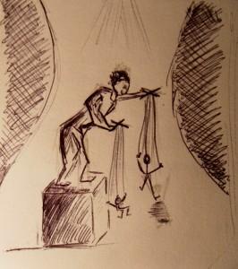 Ce croquis illustre bien notre thématique: il y est question de théâtre, d'un corps, d'un lieu, et d'appropriation de ce que corps par un autre. Le théâtre met en scène des personnages, eux même incarnés par des personnes. En cela le dessin peut être vu comme une métaphore du théâtre. Et puis nous souhaitions faire un clin d'oeil à Pascal Laurent dont la particularité théâtrale est la marionnette!